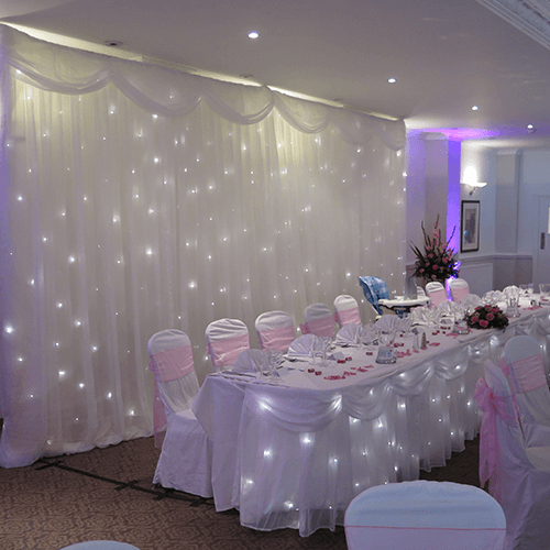 White LED Starcloth Hire Gloucestershire