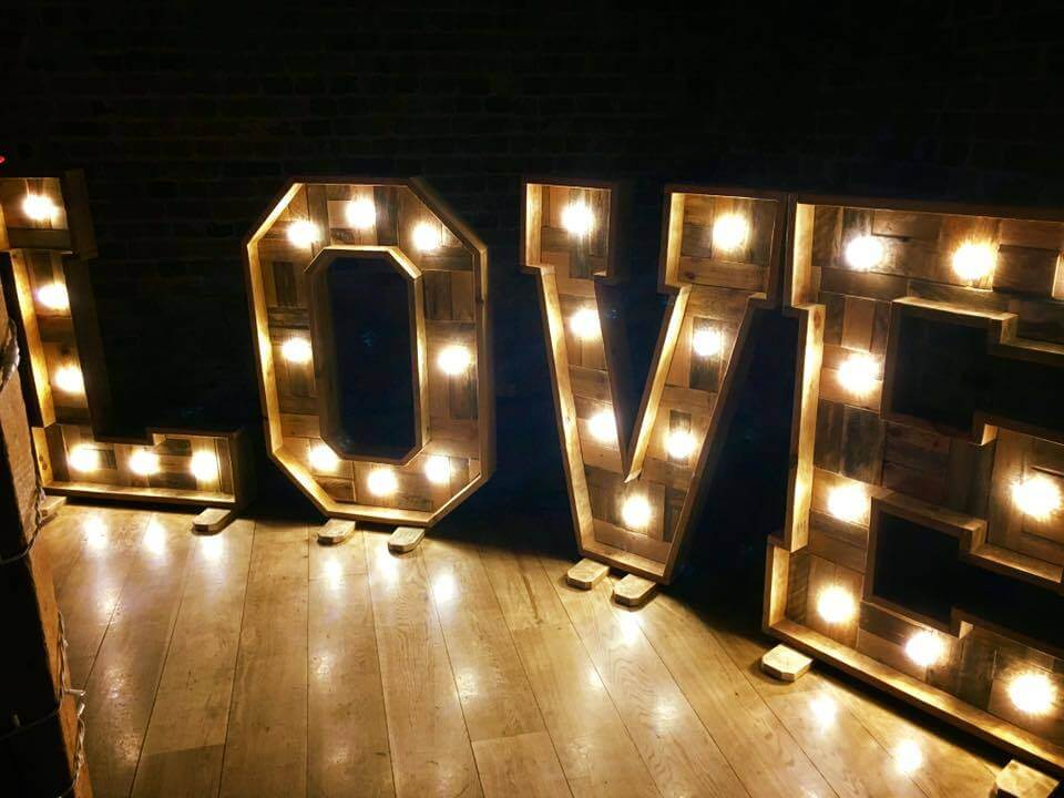 Wooden LED LOVE letters