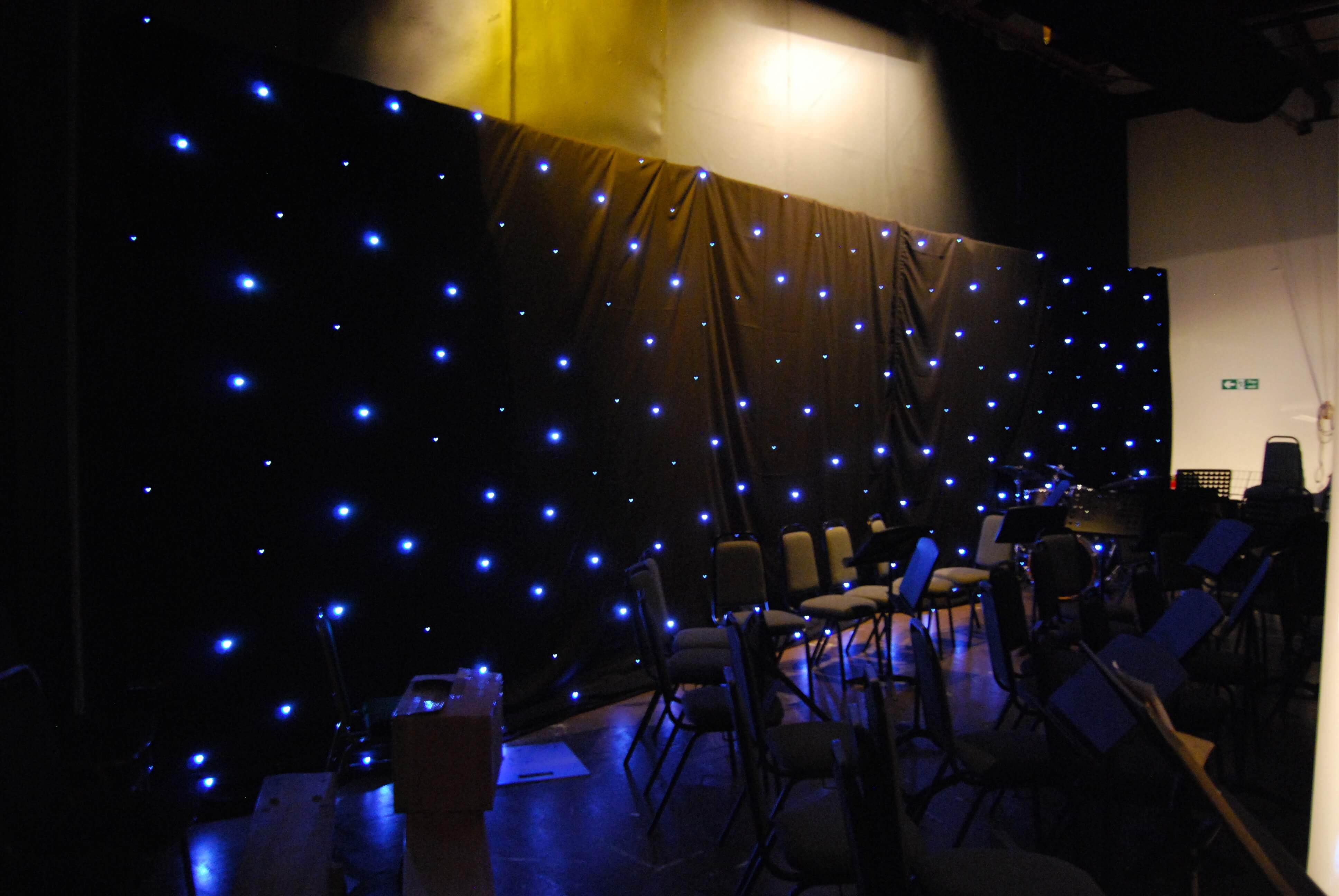 Black LED Starcloth Drape Hire Gloucestershire